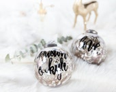 Mercury Glass Christmas Ornament with Black Lettering for the Holidays