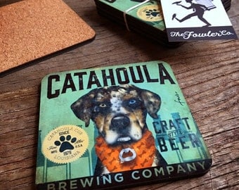 Set of 4 Catahoula brewing company dog beer coasters with cork backing