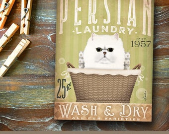 Persian Cat Laundry Company basket illustration graphic art on canvas by stephen fowler