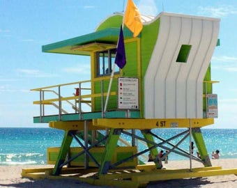 Colorful 4th Street Lifeguard Station of Miami Beach - Whimsical Beach Architecture - Original Colour Photograph by Suzanne MacCrone Rogers