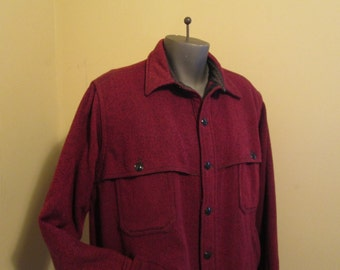 Vintage Woolrich Jacket 60s wool Tweed Jacket Red twill Wool jacket 60s US Cruiser Coat 60s Woolrich Mackinaw Red and Black wool Jacket L XL