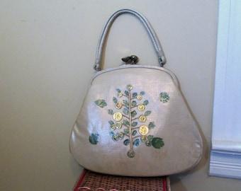 Fun Vintage 60s purse Money Tree design vintage handcrafted structured Handbag Large 60s beige purse