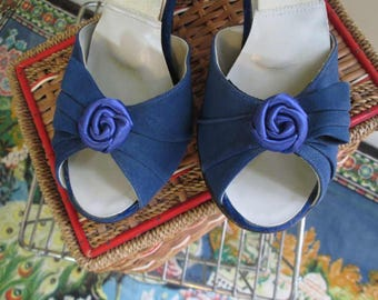Vintage Blue Roses 50s SpringOlators Blue Leather Hi Heel Sandal Vintage Blue Suede Mules Blue roses Spring O Lators 6.5
