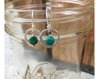 Small front facing hammered fine silver hoops with turquoise