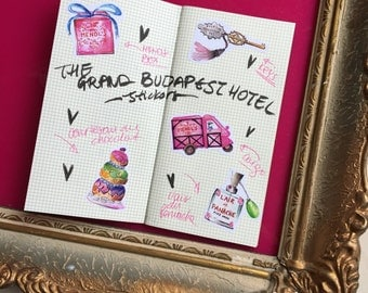 The Grand Budapest Hotel (set of 10) illustration, watercolor drawing, planner decoration, hobonichi