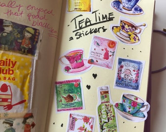 TEA TIME STICKERS (set of 10) illustration, watercolor drawing, planner decoration, hobonichi
