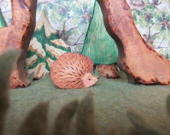 Forest Hedgehog  - Waldorf Wooden Toys Heirloom Wood Animal Toy cute Christmas toy