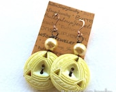 Pierced Yellow Vintage Button Earrings
