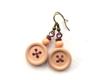 Just Peachy Autumn Peach Vintage Button Earrings with Magenta wire