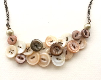 Vintage Button Statement necklace Mississippi River Mother of Pearl Buttons