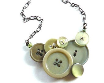 Spring Sale Cedar Green Vintage Button Necklace - Muted Olive Sage Color