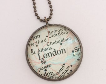 London, England Location Pendant, Honeymoon Travel Trip Gift, Unique Pendant Souvenir, British Atlas Jewelry,