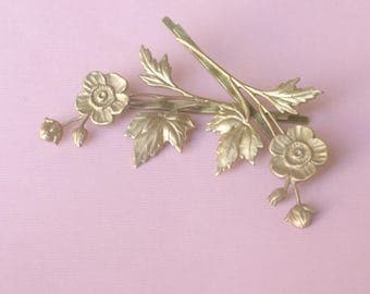Floral hair pins leaves bridal golden brass bobby pin wedding hair accessory branch hair slide set woodland rustic flower spray bridesmaid