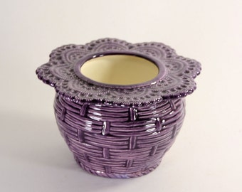 African Violet Pot Basket Weave Small Purple Made to Order