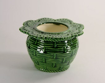 African Violet Pot Basket Weave Small Green Made to Order