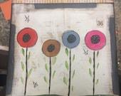 Poppy Fields 36-original mixed media - WALL HANGING
