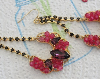 Elegant Pink Beaded Purple Rhinestone Dangle Pierced Earrings