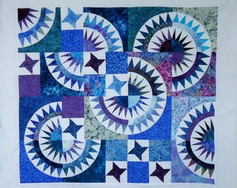 """New York Beauty Star Quilt Top 48 x 44"""" Batiks & Solid White Ready to Ship"""