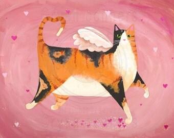 Robust Calico Valentine Cat Original Folk Art Painting