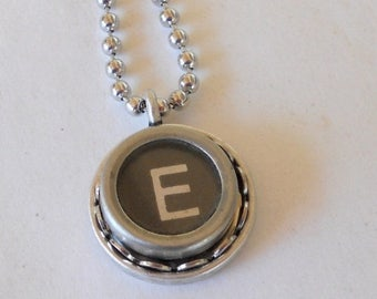 SALE Initial Necklace, Typewriter Key Necklace, Personalize,  Vintage, Initial Jewelry,  All Letters A-Z