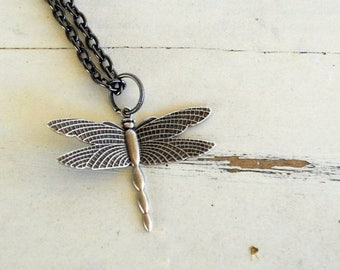 SALE Dragonfly Charm Necklace. Silver. Steampunk.