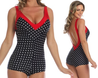 Iris Onepiece Polka-Dotted Swimsuit in Black/White and Red S ONLY!!