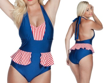 Mazie Peplum Halter Swimsuit in Navy with Red and White Stripes