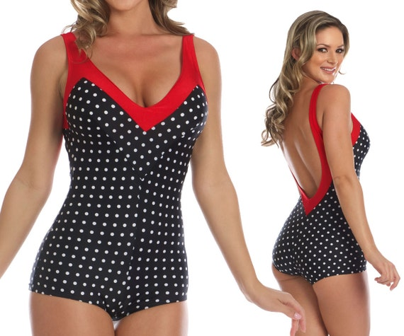 Iris Onepiece Polka-Dotted Swimsuit in Black/White and Red Small size only