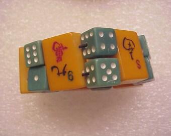 Jan Carlin Designer Las Vegas Gambling Casino Dice Bakelite Bracelet Lucky