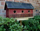 SPRING SALE Primitive Folk Art Saltbox Birdhouse