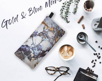 Gold & Blue Marble Printed Zip Clutch Marble Makeup Case Marble Cosmetic Case