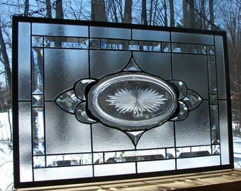 stained glass panel antique Sunburst dish beveled
