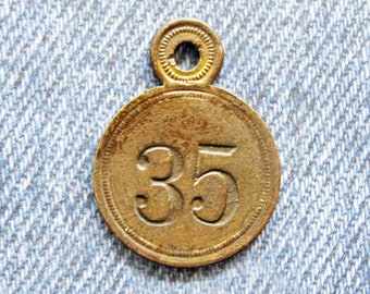 Brass Number Tag Room 35 Skeleton Key Fob Antique Retro Motel Hotel Industrial Metal Painted Numbered Id Repurpose Hardware