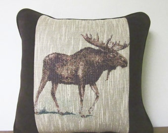 Moose Tapestry Pillow Decorator Pillow Brown Upholstery Fabric Cabin Lodge Decor Woodlands