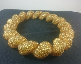 Vintage Hand Beaded Glass Bead Large Gold Statement Necklace 1950's - 1960's Mod Go Go Elegant