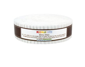 "Robert Kaufman Kona Cotton Solids White Skinny Strips 1.5"" Precut Cotton Fabric Quilting Roll SS-102-40"