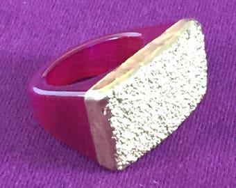 Dara Ettinger JILL Druzy Ring in Pink/Gold sz 9