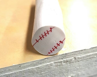 Baseball Cane, Sports Polymer Clay Cane, White Ball