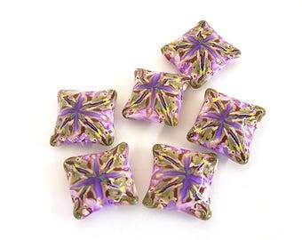 Polymer Clay Beads, Purple Kaleidoscope Pillow Beads