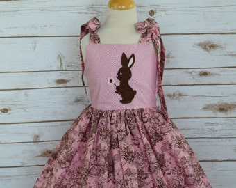 Girls Boutique Easter Dress-Easter Dress-Easter Knot Dress-Bunny Applique Dress-Special Occasion Dress-Ready To-Size 5T-CPSC-