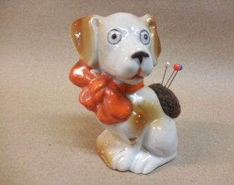 Vintage Sweet little Floppy eared Puppy Planter with Big Orange Bow remade into a Pin Cushion, Made in Japan