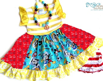 Mickey Mouse Disney Cruise dress Mickey Mouse Pink Momi girls boutique clothing custom