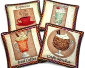 Time for Coffee/Christmas Santa Set of 4-Cinnamon & Spice Reversible Scented Fabric Drink Coasters/Candle Mat/Drawer Sachet. YUMMY