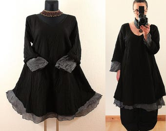 Black and Gray FLOATY Fairy Long Tunic DRESS Plus Size 16 18 20 22 2X Gothic Vintage Lagenlook Baggy Linen Cotton Spring Summer grey
