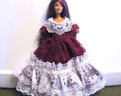 ON SALE Barbie Dress Burgundy and White Lace