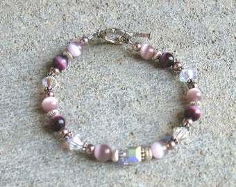 ON SALE Purple Pink and Crystal Silver Beaded Bracelet
