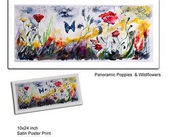 Panoramic Poppies and Wildflowers Watercolor and Ink Poster Art Print