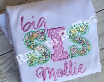 Big Sister Personalized Shirt Big Sis Monigrammed Shirt