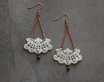 large lace earrings | NEOLA | pale ivory / chandelier earrings / vintage lace / dangle earrings / gift for her, victorian