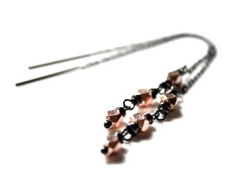 Karen Hill Tribe Rose Gold Vermeil Sterling Silver Threader Earrings | Pink Gold Ear Threads Oxidized | Gugma Minimalist Boho Jewelry
